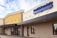 Front awning of Biomat USA plasma donation center in Fairless Hills, PA